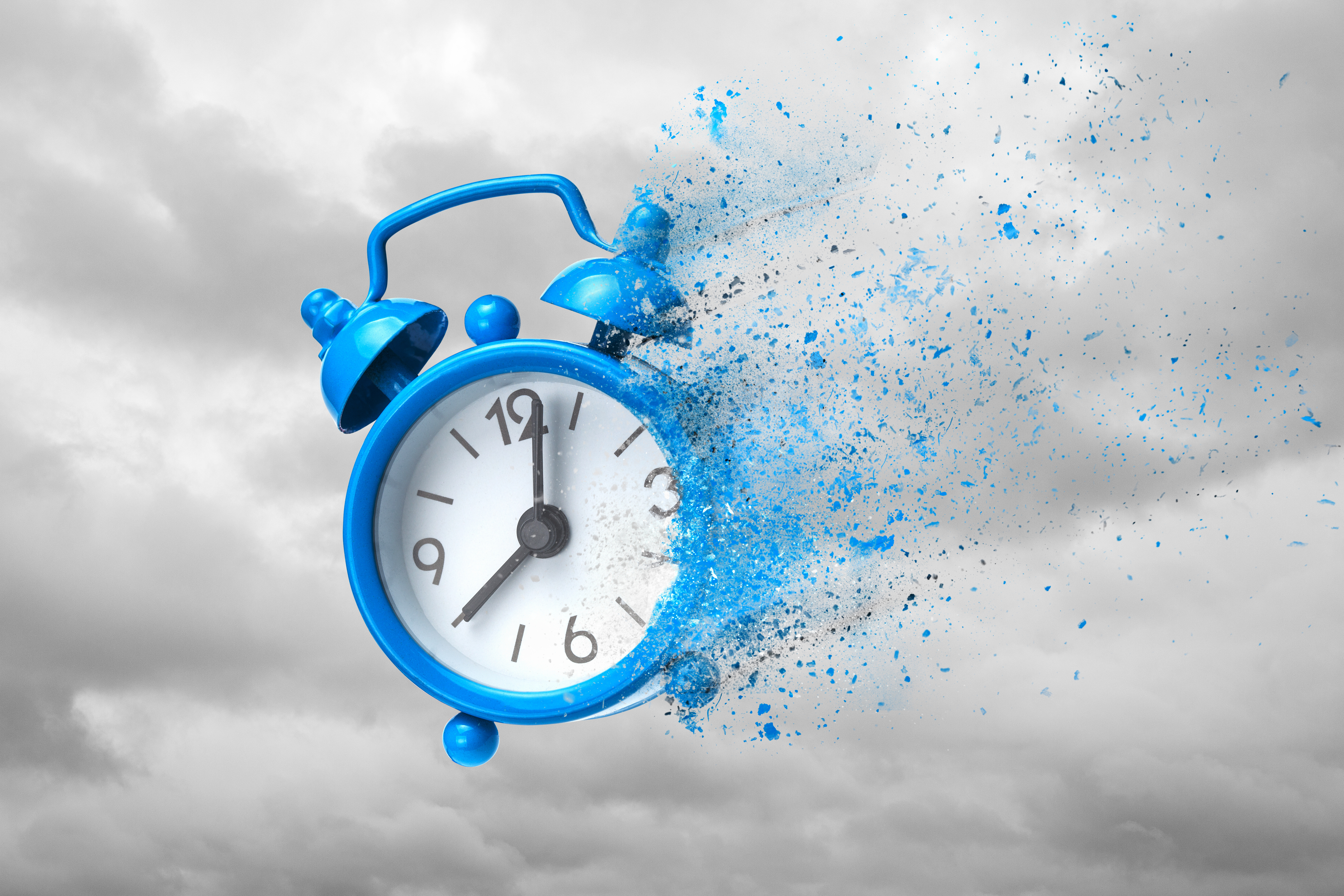 floating clock time is running out concept